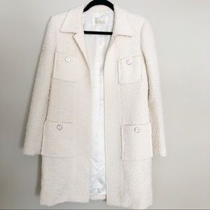 Harrods White/Cream Wool Boucle Coat Small